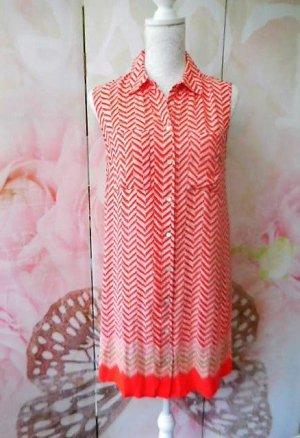 Gr. 36/38 Laura Ashley Tunika Kleid leichte Baumwolle hinten etwas länger, sieht auch mit Gurt süss aus rot mit creme