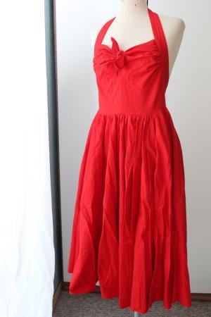Gr. 36 S Neckholderkleid rot Rockabilly Kleid knielang Sommerkleid retro Schleife rückenfrei