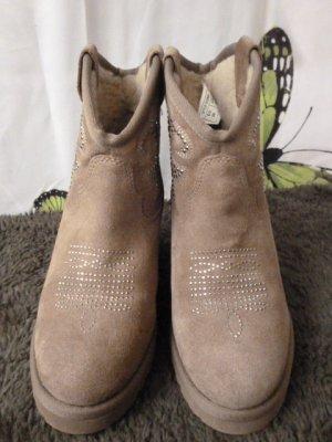 Gr. 37/37.5 ASH neuwertige traumhafte Stiefelette Lammfellfutter Wildleder beige mit Steinchendeko, sehr warm