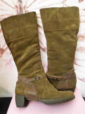 Gr. 37 Think! Stiefel Wildleder hellbraun/ khakiTon sehr guter Zustand, Innensohle 24,5cm  auch die passen mit Einlagen nicht -  darum räume ich meinen Schuhschrank