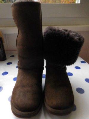 UGG Australia Botas de piel marrón oscuro-marrón Cuero