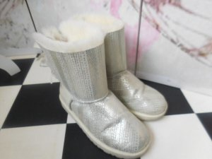 UGG Fur Boots white-silver-colored leather