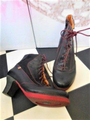 Gr. 39 The Art Company Schnür Stiefeletten schwarz mit modischem Dunkelrot super Zustand hoher Neupreis