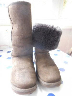 UGG Fur Boots dark brown-brown leather