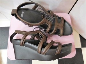 Camper Wedge Sandals dark brown