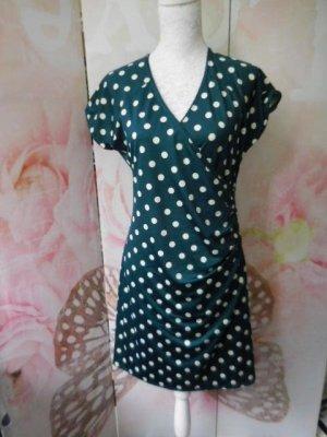 Gr. 40 King Louie Kleid dunkelgrün mit Punkten sehr guter Zustand NP 99Euro
