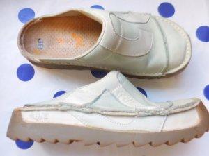 Art Sabot bleu clair-blanc cuir