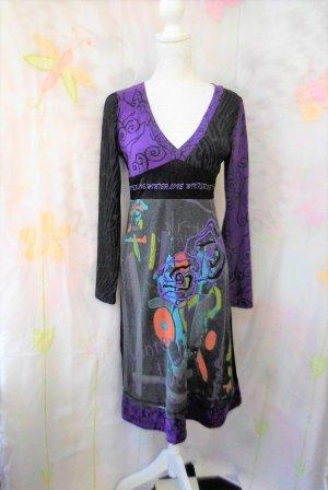 Gr. L Desigual Kleid mit violett wunderschön auch am Rücken (Masse s. Bild 5) sehr guter Zustand
