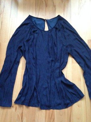 Gr L Zara dunkelblaue Bluse Rücken Cut-out