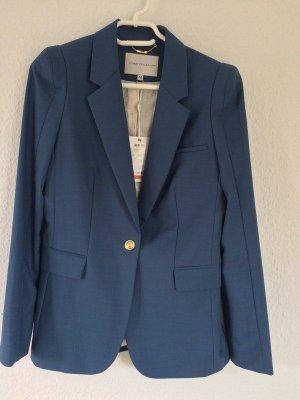Gr. M Taillierter hell-blauer Blazer mit Goldknöpfen Wolle Viskose *NEU*