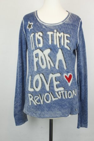 "Grace Pullover Strickpullover Wollpullover Gr. S blau weiß ""It's time for a love revolution"""
