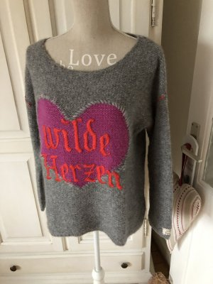 Grace Pull en laine gris-rose