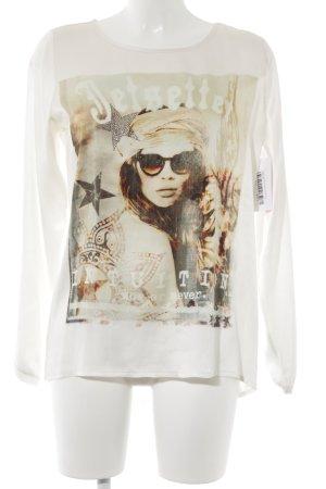 Grace Schlupf-Bluse creme-weiß Motivdruck Casual-Look