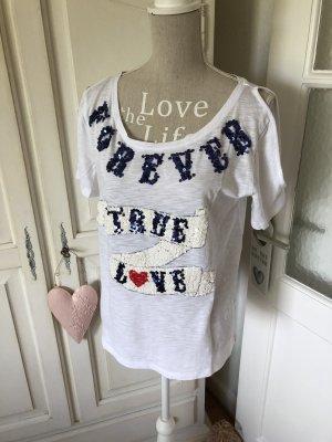 Grace Shirt Off Shoulder mit Glitzer Schriftzug