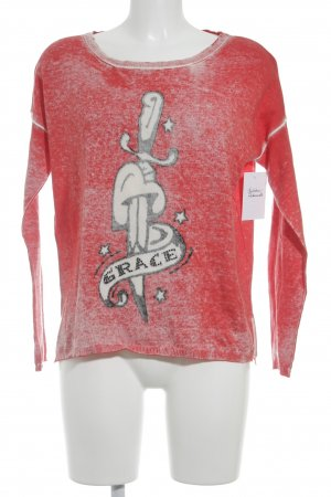 Grace Strickpullover rot-weiß Inside-Out-Druck Casual-Look