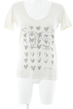 Grace T-Shirt hellbeige platzierter Druck Casual-Look