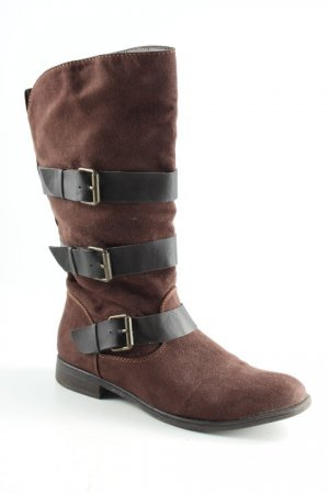 Graceland Booties dunkelbraun Biker-Look