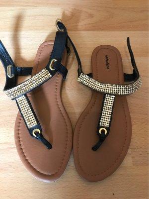 Graceland Toe-Post sandals black-gold-colored