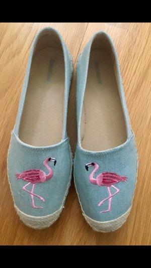 Graceland Espandrilles in hellblau mit Flamingos in 37