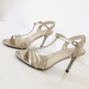 Graceland Highheels Gr  37 Gold Sandaletten riemchen T-Strap