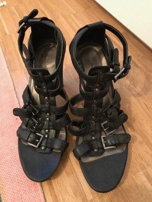 Graceland Sandalen High Heels 39 schwarz mit Riemen römersandalen
