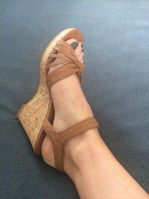 Graceland Strapped High-Heeled Sandals brown-cognac-coloured