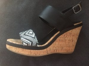 Graceland Sandalette in 37 in schwarz/weiß mit Keilabsatz
