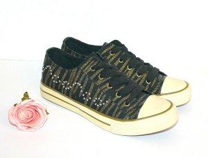Graceland Sneaker Gr. 38 Turnschuh Tiger Look Gold Strass