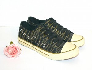 Graceland Sneakers gr.38 Turnschuh Tiger Look Gold Strass
