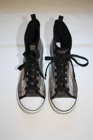 Graceland Stoffschuhe m. Keilabsatz / Gr. 41 / Sommerschuhe / Schuhe / Schnürsneaker / Sneaker / silber-schwarz-weiss-braun