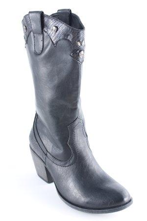 Graceland Boots western noir motif animal imprimé animal