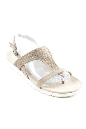 Graceland Sandalo toe-post beige con glitter