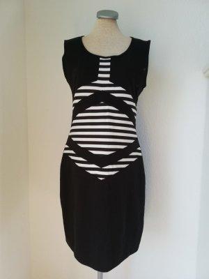 Grafik Kleid Gr. 40 M L schwarz weiß Streifen gothic Minikleid kurz Etuikleid