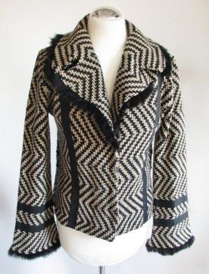 Grafisch Leichter Blazer Jacke Monari Größe S 36 Beige Schwarz Zickzack Strick Wolljacke Pelz Streifen Wolle