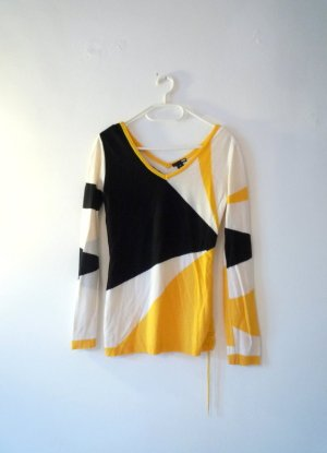 *grafisch* Leichter Pulli mit Raffung, grafisches Muster weiß, gelb, schwarz