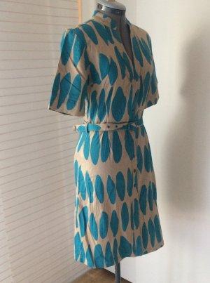 Grafisches Kleid mit abnehmbaren Gürtel, türkis/ beige, M/ 38
