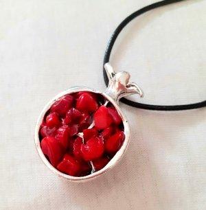 Collana argento-rosso
