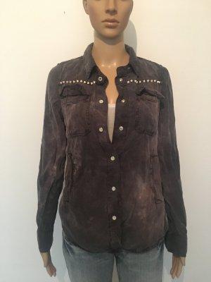 Grau Anthrazit faded batik washed out destroyed ausgewaschen seitliche Taschen Nieten 36 cool lässig Bluse Hemd casual Freizeit