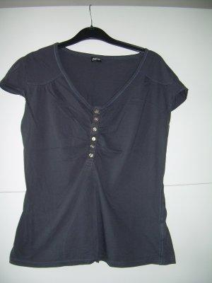 grau-anthrazit farbenes T-Shirt mit Knopfleiste von Madonna Gr. XL 42
