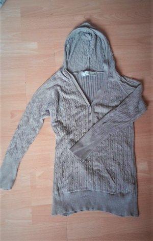 Grau/ Beiger Feinstrick Pulli im Zopfmuster mit Kapuze, 100% Baumwolle