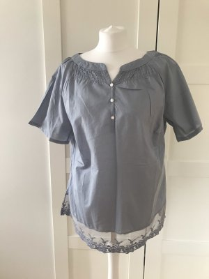 Grau/blaue Bluse mit Spitze Gr.44
