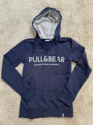 Pull & Bear Pull à capuche bleu foncé-gris