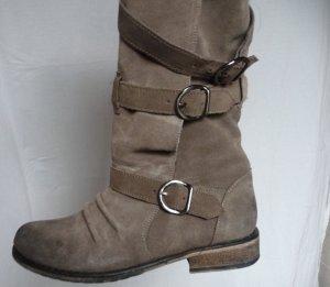 Grau braune Stiefel 39 used Leder Fell