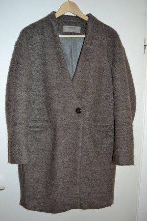 Grau-brauner kuscheliger Wollmantel von Zara