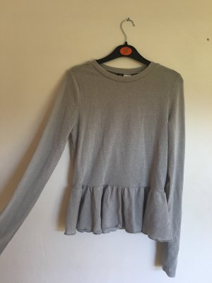 H&M Divided Glanzende blouse zilver-lichtgrijs
