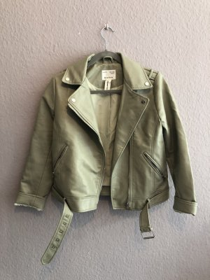 Grau-Grüne Lederjacke von Zara