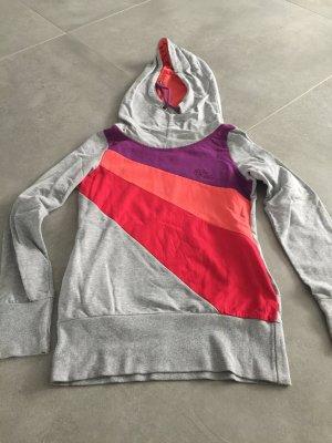 Grau lila orangener Hoodie / Pullover mit Kapuze