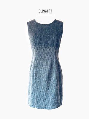 Grau meliert Kleid eingeschritten tailliert Nadelstreifen / Chaloc / 38