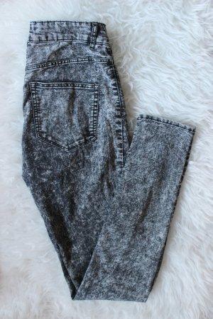 Grau melierte High Waist Skinny Jeans Gr. 36/38 H&M