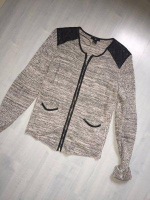 Grau melierte Jacke Leder